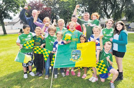 Meath supporters from St Brigid's Villas in Navan don their county colours ahead of the Leinster final tomorrow