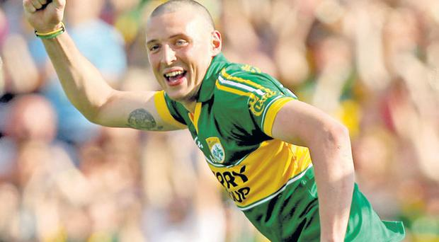 Kerry's Kieran Donaghy celebrates after scoring his side's crucial goal in the win over Tyrone in Killarney yesterday. Photo: James Crombie