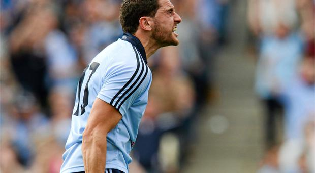 Bernard Brogan celebrates after scoring Dublin's first goal in yesterday's Leinster SFC final against Meath