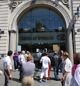 The scene outside the O'Connell Street branch of Bank of Ireland