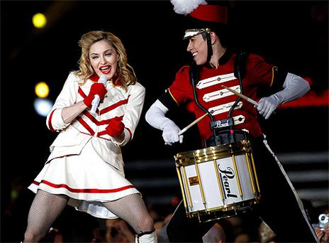 Madonna performs on stage at the Aviva