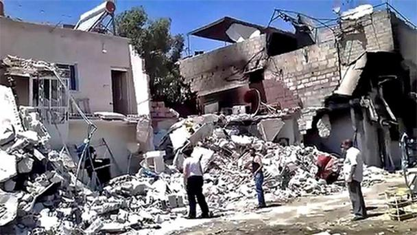 Damage from heavy shelling of the al-Qadam district of Damascus, Syria.