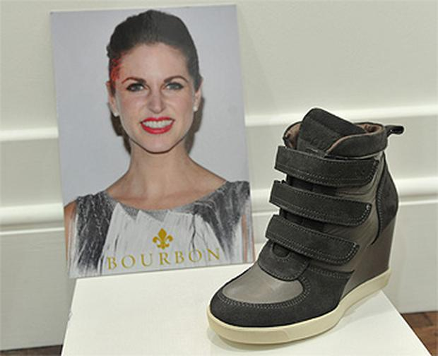 The 'American Beauty' ankle boot and the promotional poster for Amy Huberman's debut on the footwear market with the Irish label Bourbon