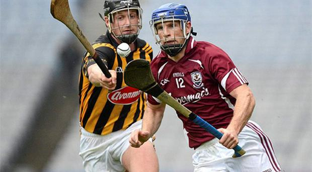Cyril Donnellan, Galway, in action against Jackie Tyrell, Kilkenny