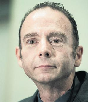 Timothy Ray Brown, the first person to be cured of AIDS, speaks to the media for the first time at a conference in Washington yesterday.