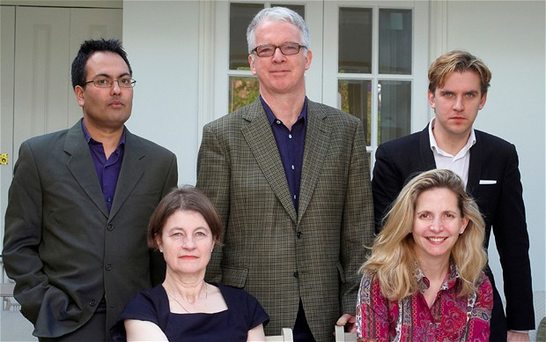 The Man Booker Prize judges for 2012 from left to right: Bharat Tandon, Dinah Birch, Sir Peter Stothard, Amanda Foreman and Dan Stevens