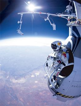 Felix Baumgartner prepares to jump during the first manned test flight for Red Bull Stratos over Roswell, New Mexico.