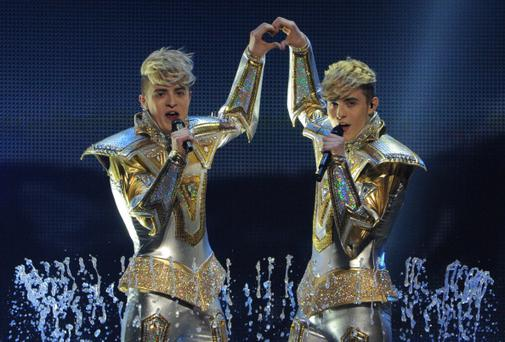 Ireland's pop duo Jedward performs during the First Semi-Final of the Eurovision 2012 song contest in the Azerbaijan's capital Baku, late on May 22, 2012. (Photo credit should read VYACHESLAV OSELEDKO/AFP/GettyImages)