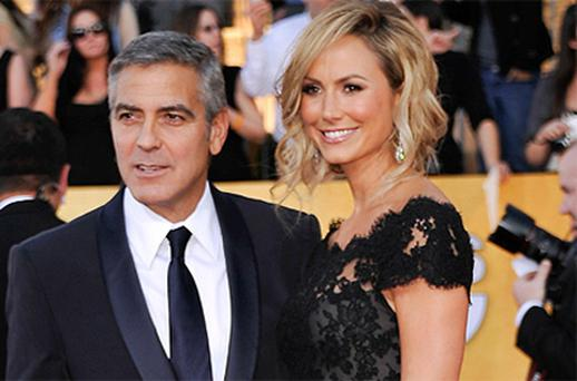 George Clooney pictured with Stacey Keibler