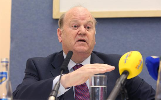 Minister for Finance Michael Noonan TD speaking during the National Asset Management Agency [NAMA] publication of its 2011 Annual Report at the Treasury Building, Dublin.