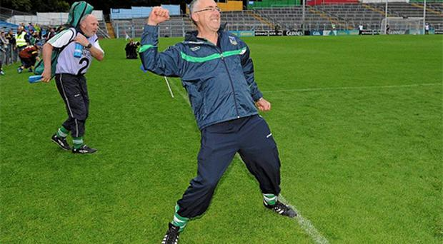 Limerick manager John Allen celebrates after the final whistle. Photo: Sportsfile
