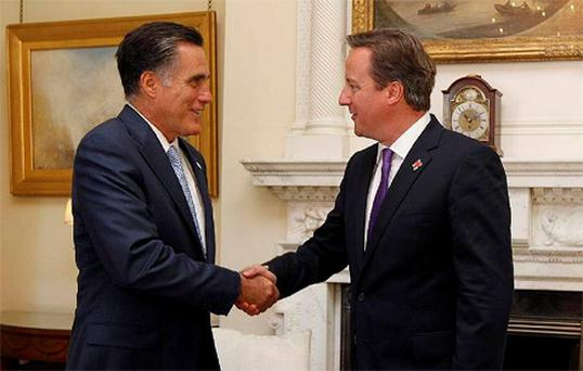 U.S. Republican Presidential candidate Mitt Romney meets with David Cameron at 10 Downing Street in London Photo: Reuters
