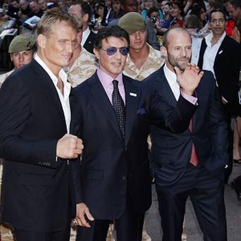 Dolph Lundgren, Sylvester Stallone and Jason Statham star in The Expendables 2