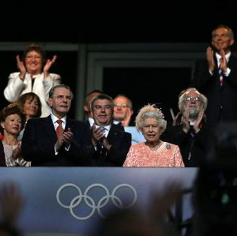 The Queen with IOC president Jacques Rogge during the London Olympic Games 2012 opening ceremony