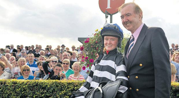 Jane Mangan made history at Galway as she partnered Midnight Music (11/1) to victory for Ballybrit king Dermot Weld in the feature Galway Handicap