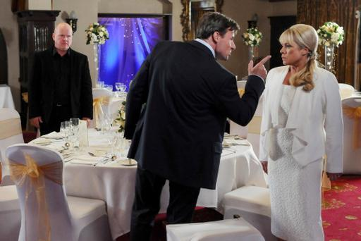 For use in UK, Ireland or Benelux countries only. BBC undated handout photo of Sharon Rickman, played by Letitia Dean, is confronted by her jilted fiancee John, played by Jesse Birdsall, on her return to the BBC1 soap, EastEnders. PRESS ASSOCIATION Photo. Issue date: Tuesday July 31, 2012. See PA story SHOWBIZ EastEnders. Photo credit should read: Kieron McCarron/BBC/PA Wire NOTE TO EDITORS: Not for use more than 21 days after issue. You may use this picture without charge only for the purpose of publicising or reporting on current BBC programming, personnel or other BBC output or activity within 21 days of issue. Any use after that time MUST be cleared through BBC Picture Publicity. Please credit the image to the BBC and any named photographer or independent programme maker, as described in the caption.
