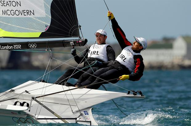 Ryan Seaton and Matt McGovern of Ireland sail in the first race of the 49er class