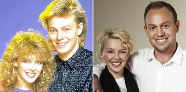 Kylie Minogue and Jason Donovan pictured, left, in their days on Australian soap Neighbours and reunited in 2007