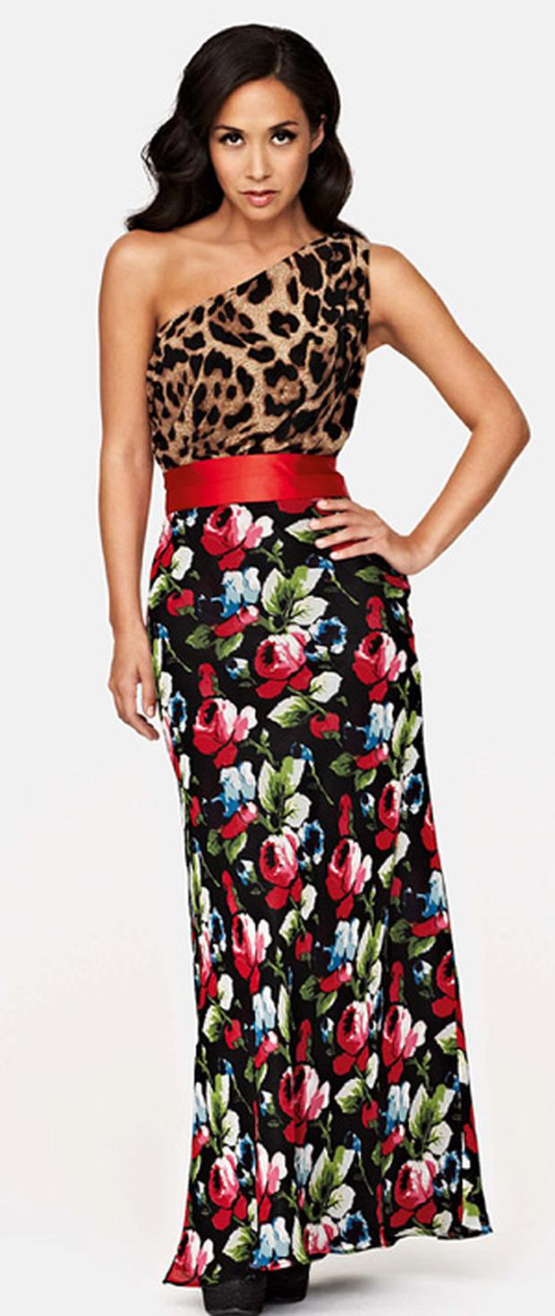 A bold one shouldered number from Myleene's new collection for Littlewoods.