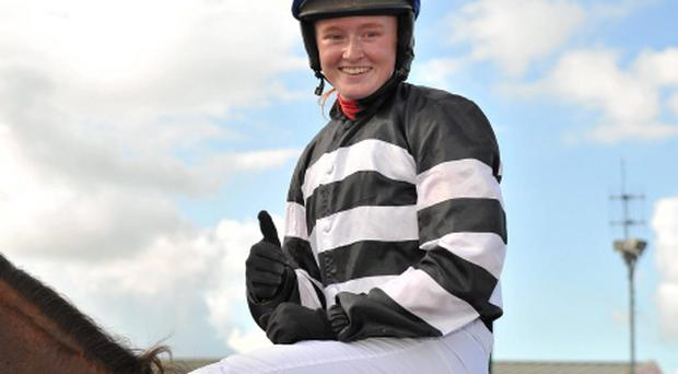 30 July 2012; Jockey Jane Mangan in the parade ring after winning the Carlton Hotel Galway City Handicap on Midnight Magic. Galway Racing Festival 2012, Ballybrit, Galway. Picture credit: Barry Cregg / SPORTSFILE