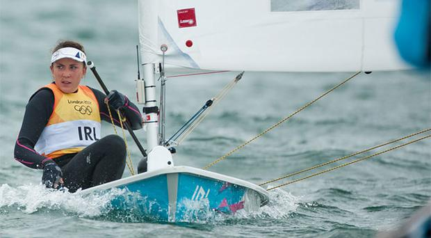 Annalise Murphy competeing earlier today.