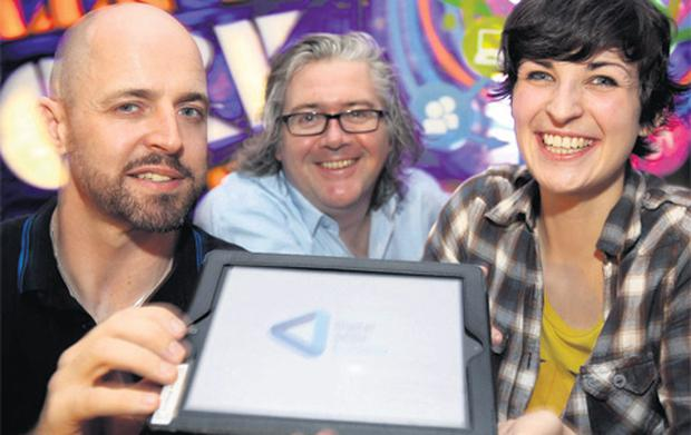 Paul Dunne, CEO of the Digital Skills Academy (centre), with WebElevate course participants Elaine Kinahan and Ronan Hurley, at the launch of the new WebElevate course, which will include games development for the first time.