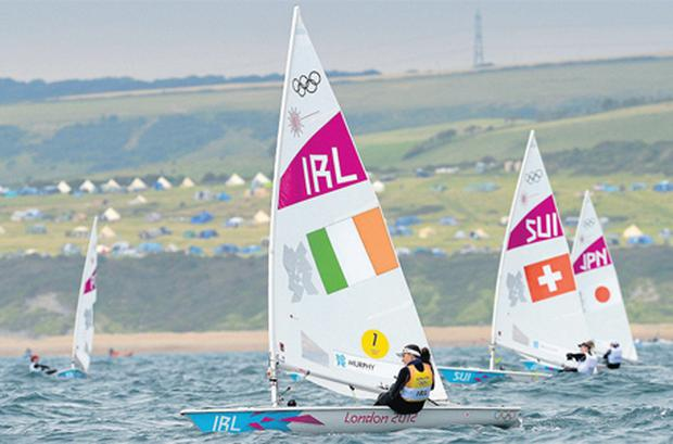 Ireland's Annalise Murphy competes during race 5 of the women's laser radial class in Weymouth yesterday