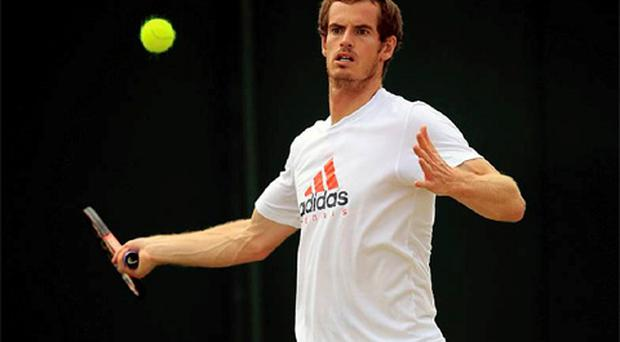 Great Britain's Andy Murray during practice of the 2012 Wimbledon Championships at the All England Lawn Tennis Club, Wimbledon. Photo: PA