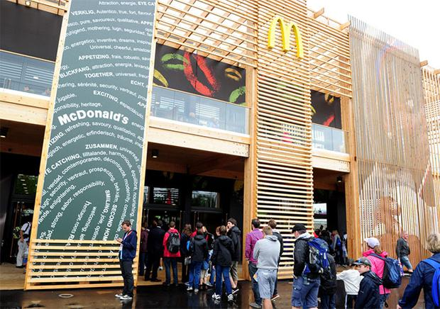 People queue for McDonalds at the Olympic Park. Photo: PA