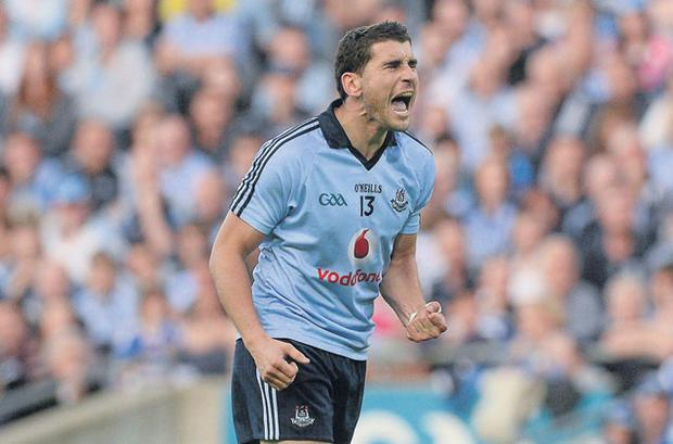 Bernard Brogan tries to stir Dublin into action in last night's All-Ireland SFC quarter-final clash at Croke Park which the All-Ireland champions won, 1-12 to 0-12. Photo: Brian Lawless