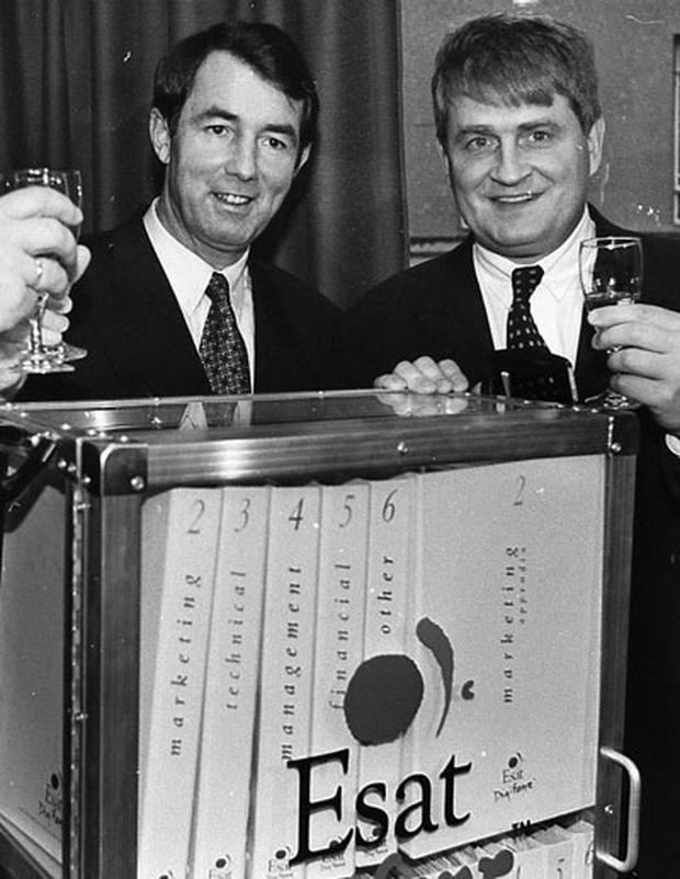 CLEAR SIGNAL: Michael Lowry, then the minister in charge of the licensing process, and Esat Digifone chairman Denis O'Brien pictured in 1995 at a conference for the new mobile phone contract