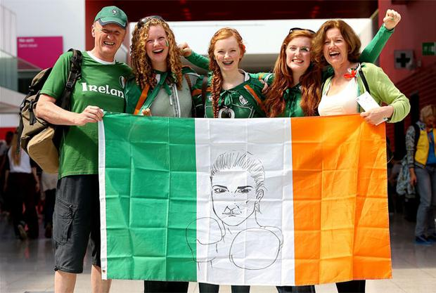 Fans gather for Katie Taylor's bout against Tajikistan's Mavzuna Chorieva in the Women's Light (60 kg) Boxing at the ExCel Centre, London
