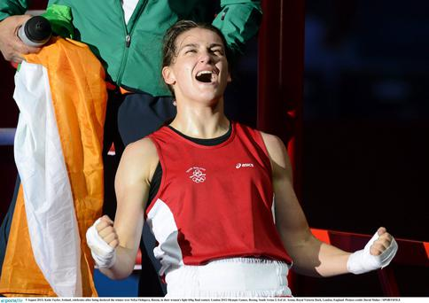 Katie Taylor celebrates winning Olympic gold in London in 2012