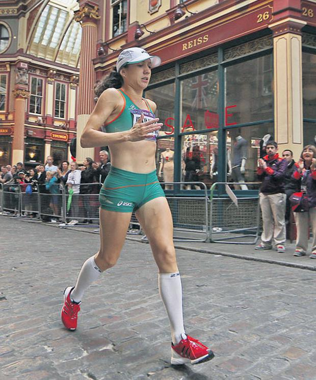 Injured Irish marathon runner Catriona Jennings was overwhelmed by the support of the British crowd, who willed her home over the final agonising mile of the event. PRESS ASSOCIATION