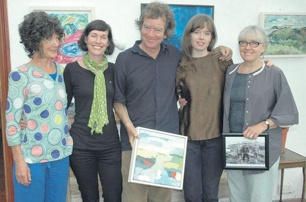 AMONGST WOMEN: Richard Kearney with, from left, his sister Sally and her daughter Emma Fitzpatrick, and his daughter Simone and his wife Anne, at their house in west Cork, before the launch of Anne's 'Mothers and Daughters' exhibition