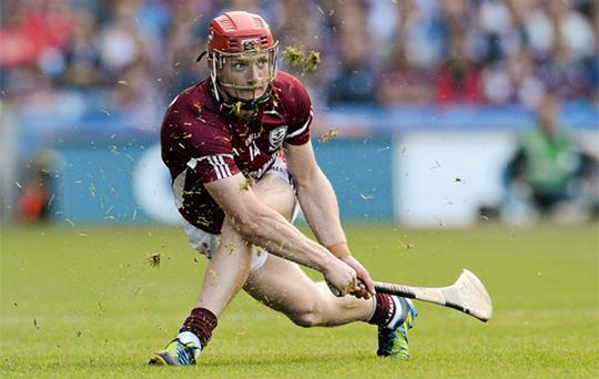 Galway's Joe Canning watches the flight of the sliothar after taking a line ball. Photo: Sportsfile