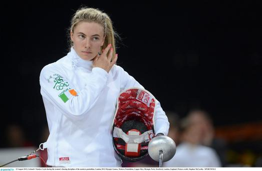 12 August 2012; Ireland's Natalya Coyle during the women's fencing discipline of the modern pentathlon. London 2012 Olympic Games, Modern Pentathlon, Copper Box, Olympic Park, Stratford, London, England. Picture credit: Stephen McCarthy / SPORTSFILE