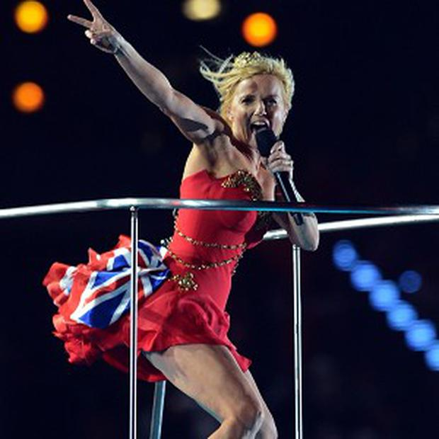 Geri Halliwell of The Spice Girls performs with the rest of the band