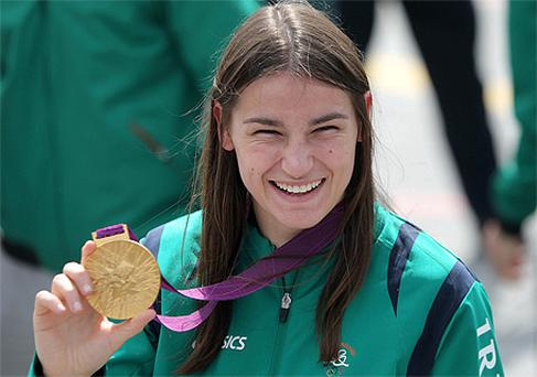 Gold medalist Katie Taylor at the return of the Irish Olympic team to Ireland at Dublin airport