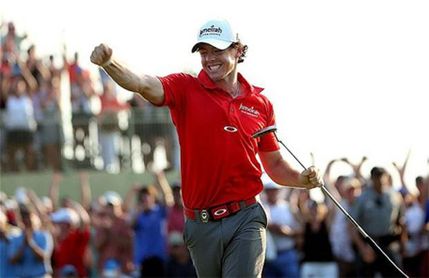History-maker: Rory McIlroy celebrates his historic US PGA victory. Photo: Getty Images