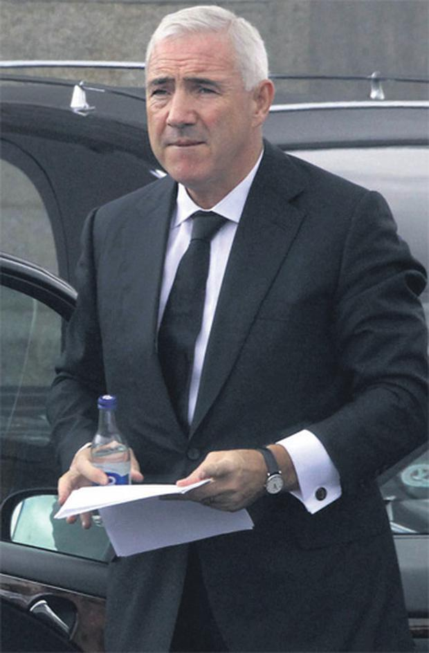 Sean Dunne arrives at the church in Tullow, Co Carlow, to attend the funeral of his father Thomas Dunne.