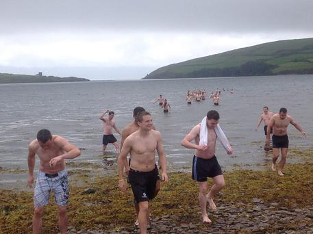 The Dublin team take a dip in Dingle