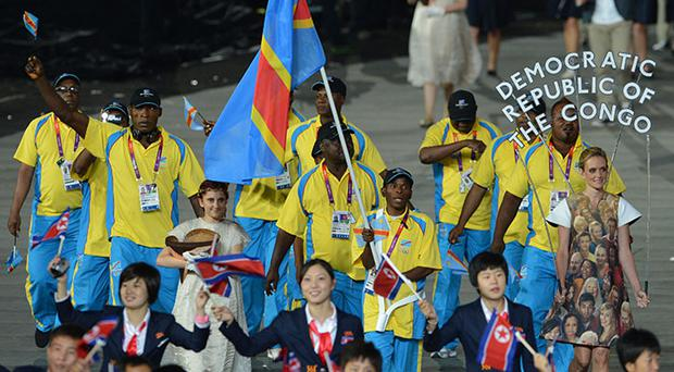 The Olympic team from Congo at the opening ceremony. Photo: Getty Images