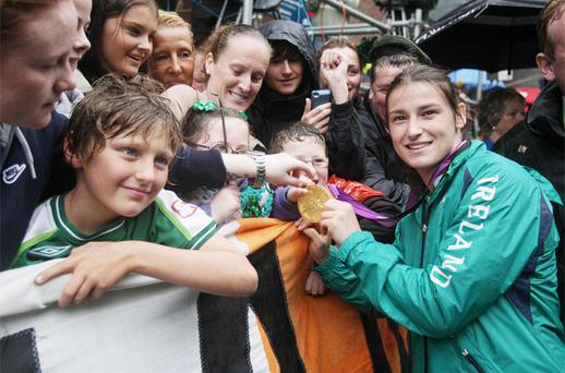 Olympic Gold Medal boxer Katie Taylor meets fans at a civic homecoming reception in Dublin today