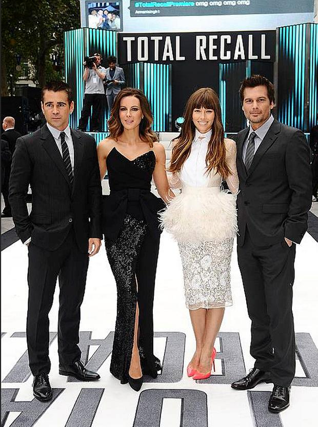 Colin Farrell, Kate Beckinsale, Jessica Biel and Len Wiseman arriving for the UK Premiere of Total Recall