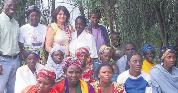 VOLUNTARY WORK: Senator Healy Eames meets Rwandan widows and orphans of that country's genocide