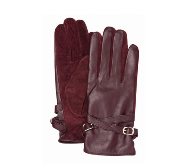 Burgundy leather gloves, €28 from Next.