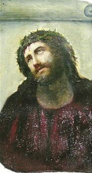 An original photograph of the painting taken in 2010, shows only minimal deterioration with Jesus crowned in thorns clearly visible in the portrait