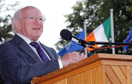 President Higgins has become a viral hit in the US. Photo: Lorraine Teevan