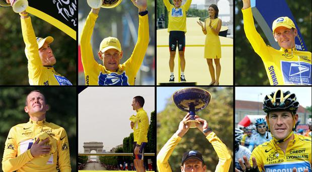 (Clockwise from upper left) 2005, 2004, 2003, 2002, 2001, 2000 and 1999 of US cyclist Lance Armstrong posing on the podium on the Champs-Elysees in Paris after winning the Tour de France cylcing race. Photos: Getty Images